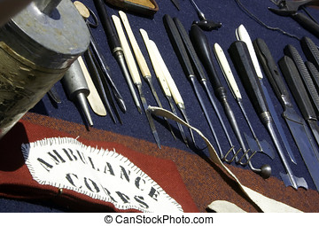 Civil war era field hospital surgical equipment.
