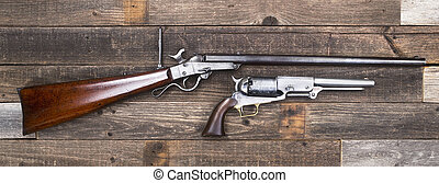 Antique American Civil War era rifle and pistols made from 1847-1863.
