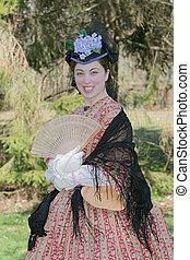 civil war era woman - outdoor portrait of an attractive ...