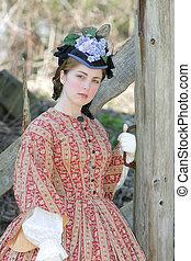 civil war era woman - outdoor portrait of an attractive...