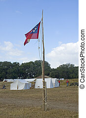 Civil War Flag - Union Flag at Civil War Camp.