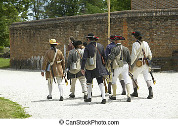 Civil War Home Guard On Patrol To Keep The Town Safe.