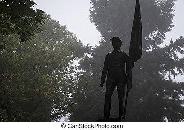 Civil War Memorial, statue of soldier in a graveyard