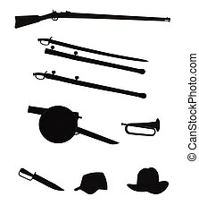 civil war objects silhouettes - objects from the civil war ...