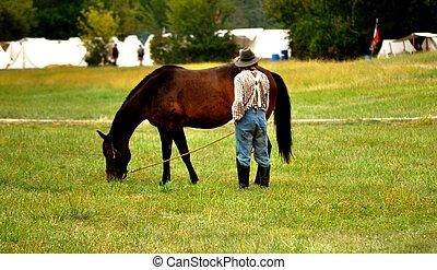 Civil War Re-enactment - man and horse