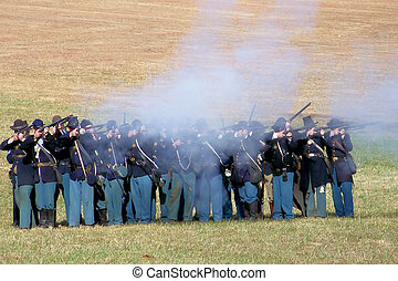 Civil War Reenacters - The Union Soldiers are overtaking the...