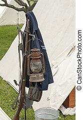Civil War Weapons - Civil War Enactment. Century Village -...