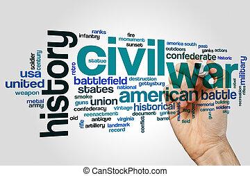 Civil war word cloud concept on grey background