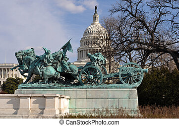 civil, washington dc, estatua, guerra
