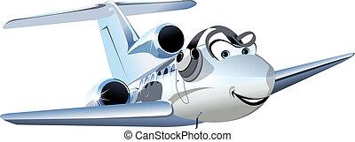 civile, aeroplano, vettore, cartone animato, utilità