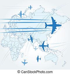 civile, percorsi, aeroplani, trasporto