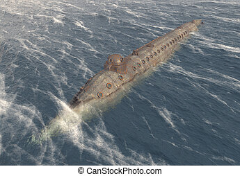 civile, sottomarino, americano, guerra