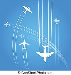 civile, traje, aeroplani, trasporto