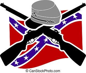 civile, war., americano, confederazione