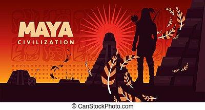 civilisation, maya, vecteur, horizontal, illustration