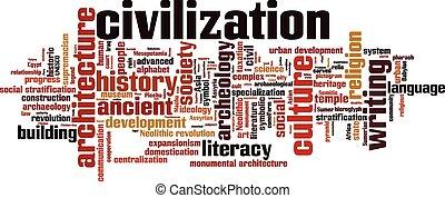 Civilization word cloud concept. Vector illustration