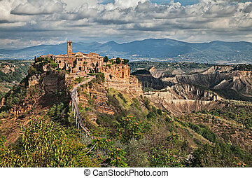 Civita di Bagnoregio, Viterbo, Lazio, Italy: landscape at twilight