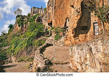 Civita di Bagnoregio, Viterbo, Lazio, Italy: the rock face of the tuff hill