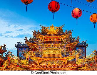 Ciyou Temple, Taipei - Taiwan - Ciyou taoist temple at night