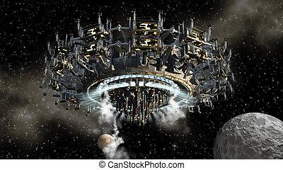 cizí, kosmická loď, měsíc