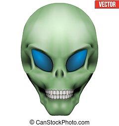 cizí, skull., vektor, humanoid, tvořivý