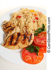 Cjun chicken meal from above - Cajun rice and chicken with a...