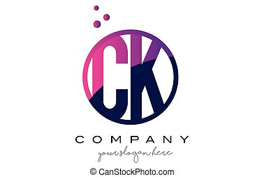 CK C K Circle Letter Logo Design with Purple Dots Bubbles - ...