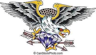 clásico, águila, emblema, tatuaje