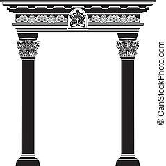clásico, arco, con, filigrana, columna