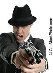 clásico, arma de fuego, negro, retrato, traje, mafia, hombre