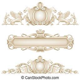 clásico, arquitectónico, fachada, decoración