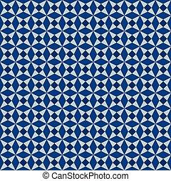 clásico, azul, seamless, ornamento, morisco