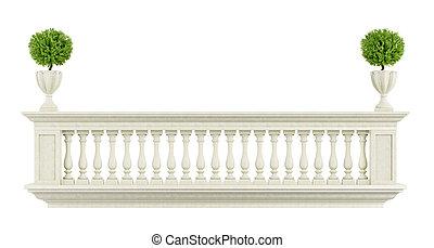 clásico, balaustrada, balcón