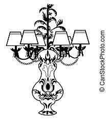 clásico, barroco, exquisito, lámpara