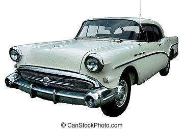 clásico, blanco, retro, coche, aislado
