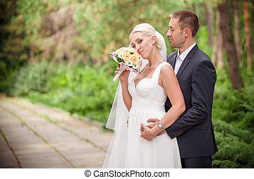 clásico, boda, novia y novio