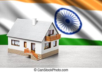 clásico, casa, contra, bandera, indio, plano de fondo