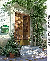 clásico, casa, puerta principal, con, escaleras.