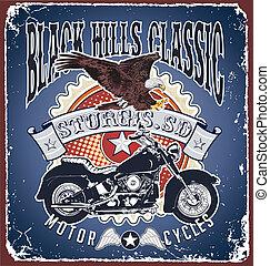 clásico, colinas negras, motocicleta