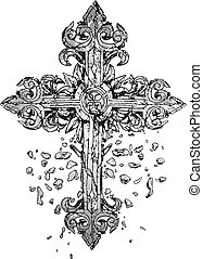 clásico, cruz, ilustración