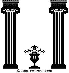 clásico, florero, griego, romano, o, columnas
