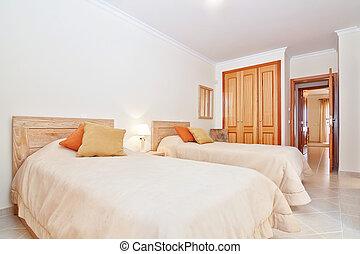 clásico, habitación, con, un, servicio, y, un, dormitorio, wardrobe., en, el, tibio, colors.