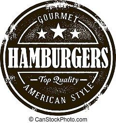 clásico, hamburguesa, estampilla