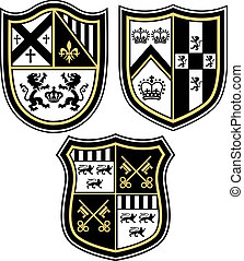 clásico, heráldico, emblema, cresta, shiel