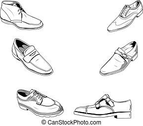 clásico, hombres, shoes