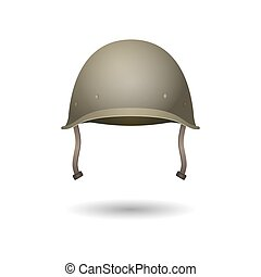 clásico, infantería, segundo, verde, uso, militar, mundo, helmet., guerra