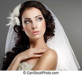 clásico, lejos, tranquilidad, el mirar joven, apacible, wedding., blanco, velo, novia