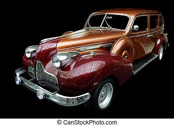 clásico, naranja, retro, coche, aislado