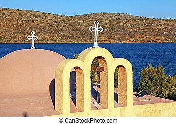 clásico, ortodoxo, griego, church(crete