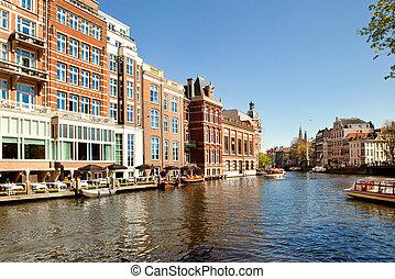 clásico, paisaje, de, amsterdam, países bajos